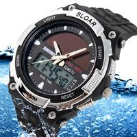 SKMEI Brand Solar energy Watch Men Sports Watches 2 Time Zone Digital Quartz Multifunctional Outdoor Dress Wristwatches 5 Colors