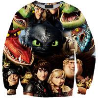 Digital Printing How to Train Your Dragon 2 Loose Hoodies Sweater Womens Tops Hedging Sweatershirt Pullover Casual Saia Feminina