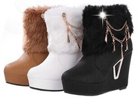 new popular Women Warm russian Winter Shoes chains charm Ankle snow Boots Platform christmas high feel fashion boots