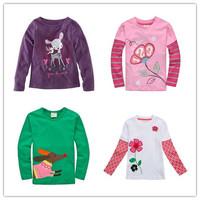 Brand 2015 Girls T-shirt Kids Tees Baby Boy tshirts Children tees Long Sleeve 100% Cotton kitty monkey Top Quality 1-6Y