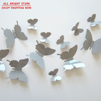 6Small+6Big/Lot Vinyl 3D Removable Gray Butterfly Decal For Kids Room DIY Colorful Party Decoration Wall Sticker For Home Decor