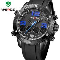 Hot WEIDE Waterproof Watch Analog-Digital Date Pu Leather Strap Casual Watches Original Quartz + LCD Digital Movement Male Clock