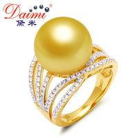 DAIMI South Sea Pearl Ring, European Style, 14-14.5mm Round Gold  Pearl, 18k Genuine Gold Diamond  Fine Jewelry