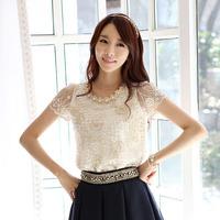 Fashion 2015 Women Elegant Slim Fit Embroidery Blouse Beading Neck Flower Chiffon Petal Sleeve Shirt, White, S, M, L, XL, XXL