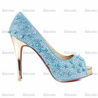 2015 Brand New Fashion Rhinestone Handmade High Heels Crystal Pumps Black Leather Solid Drilex Punk Platform Womens Heels Shoes