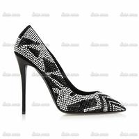 Spring 2015 Custom Handmade Crystal Spring Womens Rhinestone Pumps Appliques Spring/Autumn Wedges Leather Women Heels Shoes