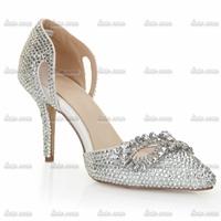 2015 summer new shoes diamond shoes silver hollow pointed shoes European and American nightclub fashion fox eye rhinestone shoes