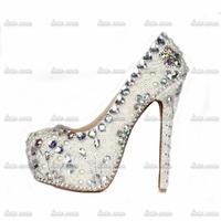 Retail/Wholesale Free Shipping Rhinestone Custom Handmade Crystal White Wedding Pumps Spring Red Women Fashion Valentine Shoes