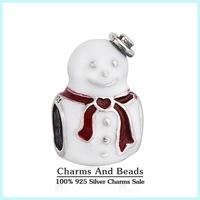 2014 New Winter Christmas Snowman Charms 925 Sterling Silver Enamel Charms Fit European Famous Brand Snake Chain Bracelets Er416