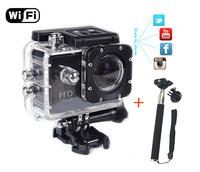 Higher Quality Sport WIFI Action Cam W8 camera Free Monopod Tripod Mount 1080p Waterproof with 1 year Warranty Versus Gopro Cam