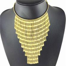 Fashion Chokers long gold tassel necklaces women long Tassel chain pendants statement necklace vintage collar women jewlery