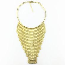 Fashion Chokers long gold tassel necklaces women long Tassel chain pendants statement necklace vintage collar women