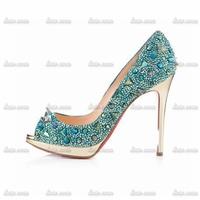 High Quality Rhinestone Custom Handmade Crystal Rhinestone Pumps Sat Patent Leather Plain Basic Dress Shoes Manufactures