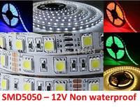 Wholesale LED strip 5050 12V flexible light 60 leds/m,5m/lot Non waterproof indoor light Christmas light