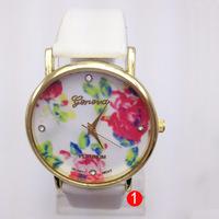 Styles Fashion Geneva Watches Leather Rose Flower Watches For Women Dress Watches Quartz Watches Wristwatches