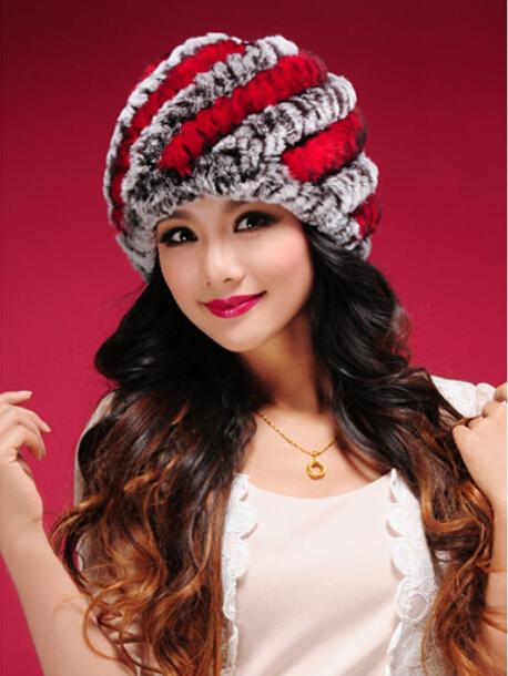 2014 autunno inverno ladies' vera maglia della pelliccia del coniglio del rex cappelli berretti donne pelliccia berretti copricapo femminile a30454