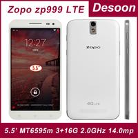 "Original ZOPO ZP999 ZOPO 999 zopo ZP3X 4G LTE phone MTK6595M Octa Core 2.0GHz Android 4.4 3GB 32GB 5.5"" 1920*1080P LTPS OTG NFC"