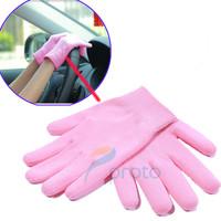 2014  Pink Gel Gloves Moisturize Soften Repair Cracked Skin Moisturizing Treatment Gel Spa Glove Hand Protection Free Shipping