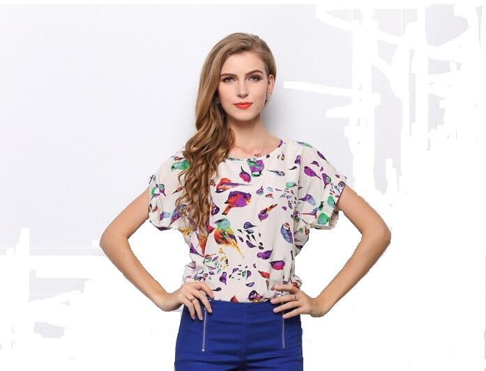 18 stile 2014 breve estate- Custodia delle donne camicia di chiffon moda uccello stampa pullover