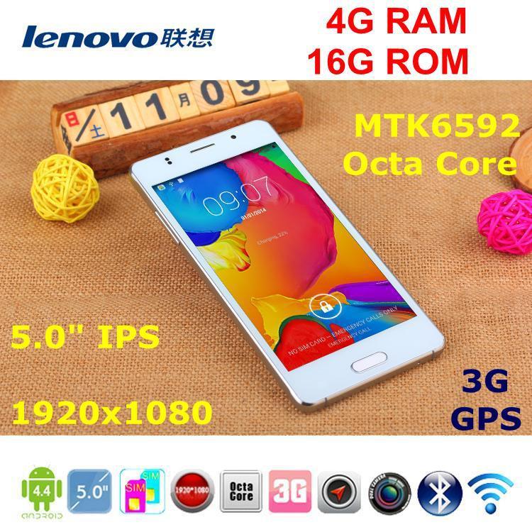 "Lenovo phone 4G RAM 16G ROM Octa core 3G GPS Android 4.4.4 mtk6592 IPS 8.0MP HD 5.0"" smart wake China mobile cell phones unlock(China (Mainland))"