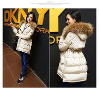 Green Autumn Winter Women Duck Down Jacket Loose Oversize Long Warm Outerwear Hooded Real Mink Fur Collar Female Down Parka Coat