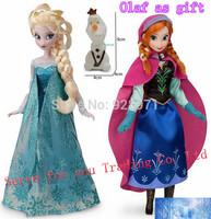 2PCS/Set,Frozen Toys 12 Joint Moveable 29cm 11.5 Inch Frozen dolls Princess Frozen Elsa+Frozen Anna,no box,Free shipping