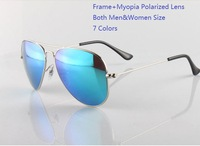 Men Women Myopia sunglasses colorful coated polarized sunglasses for nearsighted driver outdoor user Frame+optical lens;7 colors