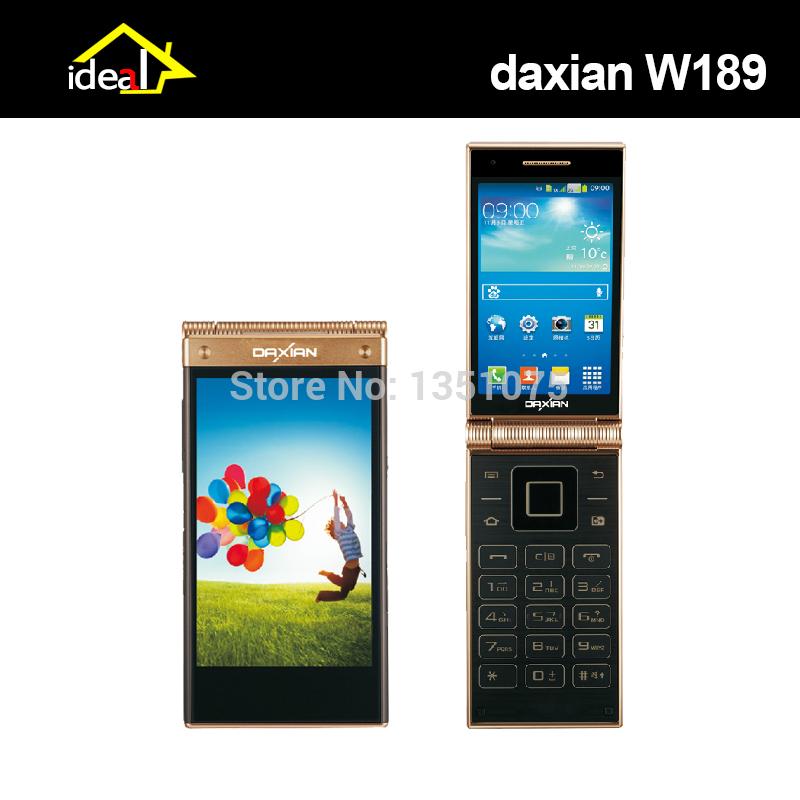 """Daxian w189 flip telefono cellulare 3,5""""IPS doppio schermo mtk6572 dual core wcdma 5mp Android 4.2& vecchio sistema telefonico"""
