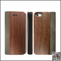 Flip Cover Leather Skin With + Natural Walnut Wooden Wood Cover For Iphone 5 5S