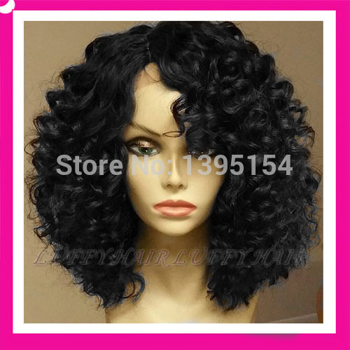 African American Wigs Human Hair Lace Front Half Wigs 70