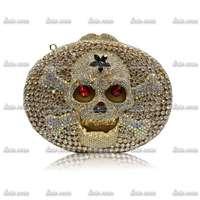 2 Colors A Red Carpet Stars Luxury Brand Valentine Handmade Skull Crystals Women Shoulder Bag Party Elegant Evening Clutch Bag