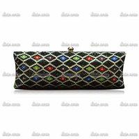 2Colors 2015 Luxury Geometric Vintage Handmade Diamond Woman Brand Hasp Plaid Casual Clutch Bag Party Fashion Wedding Dress Bag