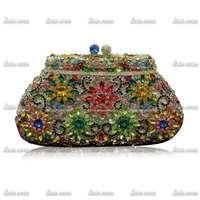 Free Shipping Luxury Brand Glitter Valentine Handmade Diamond Women Handbag Genuine Leather Bag Pary Sexy Evening Clutch Bag