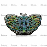 Factory Direct New Luxury Butterfly Vintage Handmade Crystals Bags Handbags Women Famous Brands Party Fashion Wedding Dress Bag