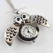 Hot sale Silver Vintage Night Owl Necklace Pendant Quartz Pocket Watch Necklace P26(China (Mainland))