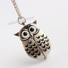 Hot sale Silver Vintage Night Owl Necklace Pendant Quartz Pocket Watch Necklace P26