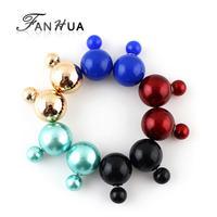 Brinco Pequenos Piercing Ear Imitation Pearl Five Color  Cute Fashion Designer Stud Earrings New 2015 Brincos For Women