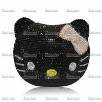 2Colors New Luxury Brand Valentine Handmade Diamond Animal Cat Women Bags Purses And Handbags Party Elegant Evening Clutch Bag