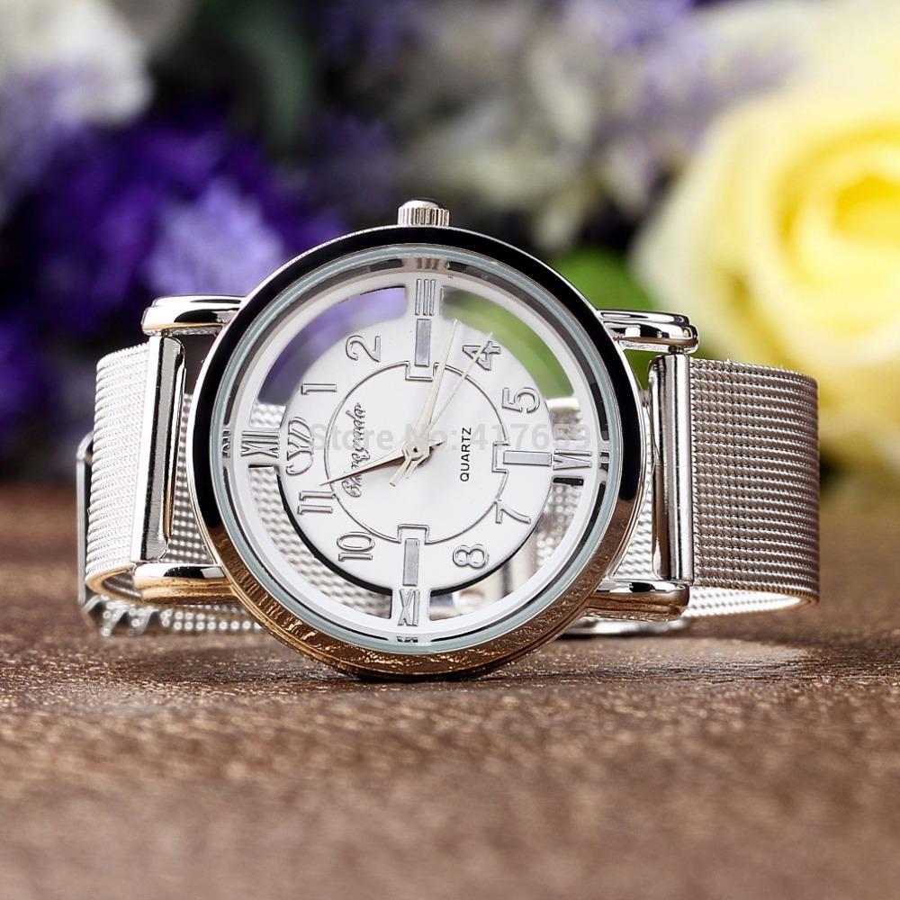 2014 nova mulheres Lady moda malha de aço inoxidável analógico pulseira relógio de pulso(China (Mainland))