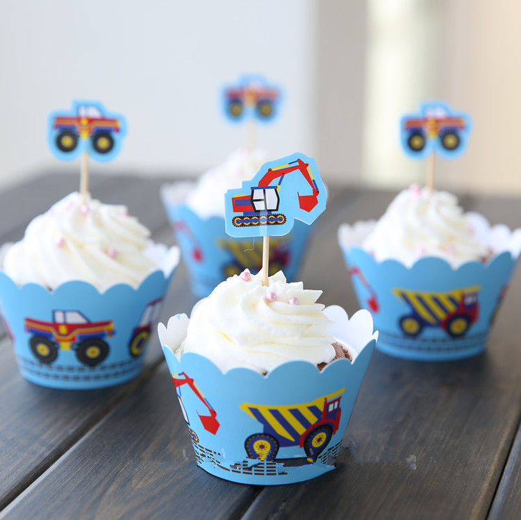 Kids Boys Birthday Party Decoration Supplies Favors Truck Excavator Cupcake Wrappers Toppers Cup Cake Picks(China (Mainland))