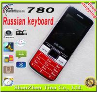 Cheap p780 phone unlocked russian keyboard phone with camera MP3 SMS Bluetooth flashlight Dual Sim Women Girl Mini phone +gift