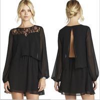summer dress 2014 women black chiffon party dresses long sleeve lace vestidos casual free shipping