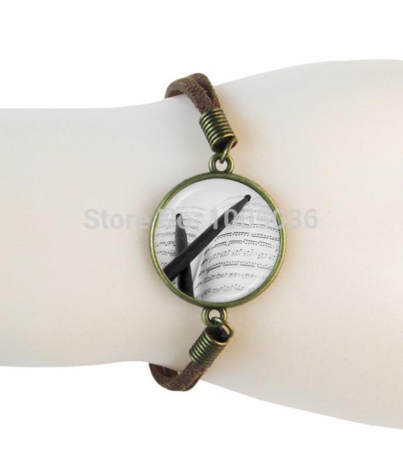 new pencil bracelet music score note leather bracelet bronze tone suede leather bangle glass dome bracelet handmade jewelry(China (Mainland))