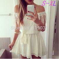 S-XL Summer Dress 2014 Women White Lace Sleeve Chiffon Patchwork Dress Vestido De Festa Party Dresses Lace Vestidos Femininos