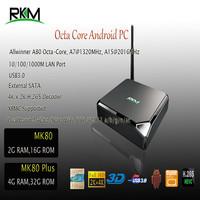 MK80 Octa Core Android 4K 2G/16G 2.4G/5G WIFI 802.11ac USB3.0 Gbit Ethernet Optical SATA Bluetooth AllwinnerA80 MiniTV Box(MK80)