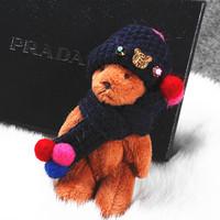 New Kawaii Plush Bear Keychains Keyrings For Women Handbag Pendant Girls Fashion Key Chain Ring Key Holder Christmas Gift AM3725