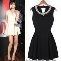 2014 Runway Dress Women's High Quality Dresses Chiffon Vestidos Black White Beading Business Wear Casual Dresses Plus Size