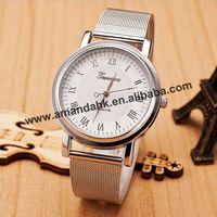 2015 New Fashion Geneva Mesh Belt Steel Woman Wrist Watch Woman Man No Rhinestone Alloy Watches Metal Lady Dress Wrist Watches