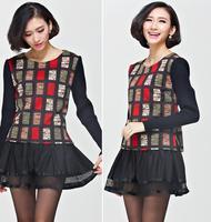 Fall/Winter 2014 New Plus Size Women's Dress Slim Splice Korean Mesh Dresses Luxury Long Sleeve O-neck Dress XL-4XL