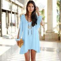 2015 New  Plus Size Women Dress Summer Elegant V-neck Long Sleeve A-Line Mini Loose Fitting Casual Chiffon vestidos